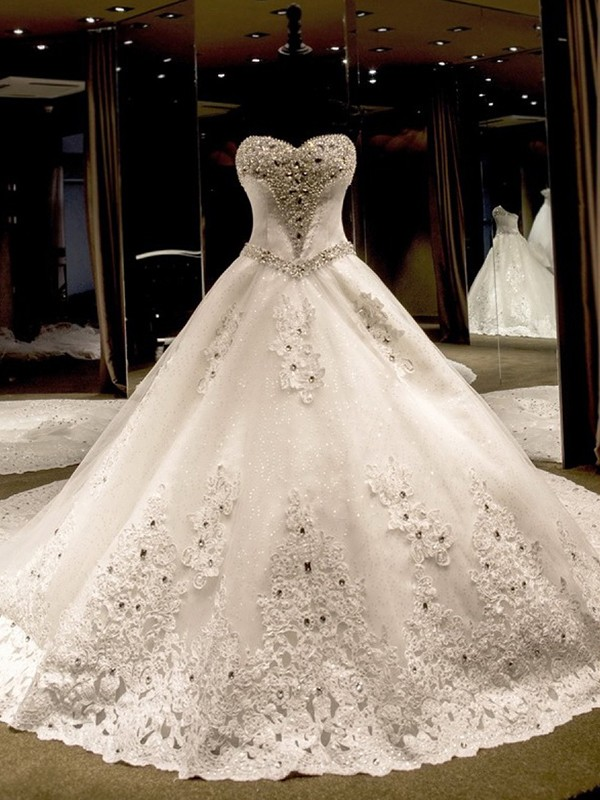 Desired Spotlight Ball Gown Sweetheart Cathedral Train With Applique Sequin Tulle Wedding Dresses
