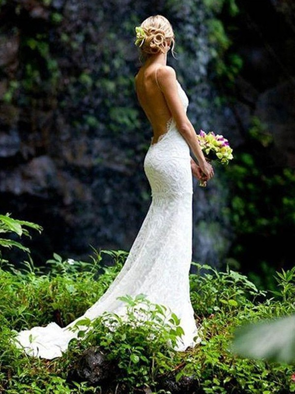 Creative Courage Sheath Style V-neck Spaghetti Straps Court Train Lace Wedding Dresses