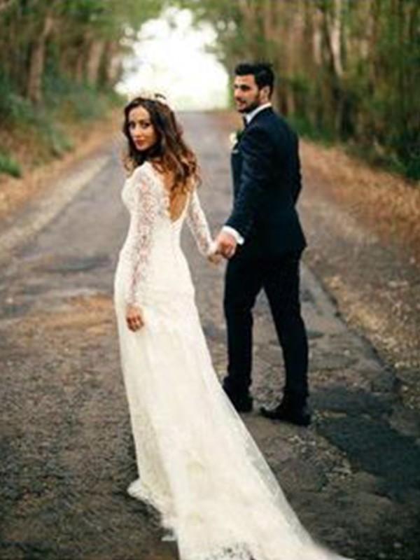 Efflorescent Dreams Sheath Style V-neck Court Train With Applique Lace Wedding Dresses