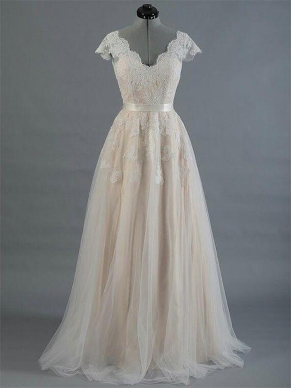 Sweet Sensation Princess Style V-neck Floor-Length With Applique Lace Wedding Dresses