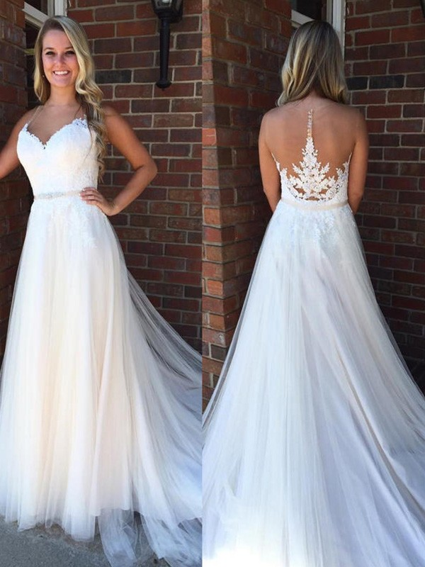 Confident Option Princess Style Scoop With Applique Court Train Tulle Wedding Dresses