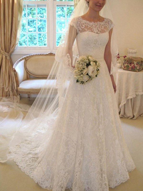 Too Much Fun Princess Style With Sash/Ribbon/Belt Square Court Train With Applique Lace Wedding Dresses