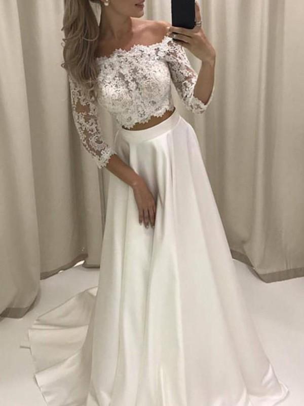 Memorable Magic Princess Style Off-the-Shoulder Court Train With Applique Satin Wedding Dresses