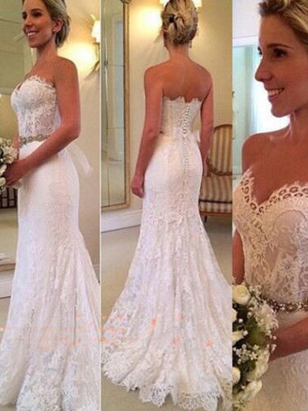 Lively Identity Mermaid Style Sweetheart Sweep/Brush Train With Applique Lace Wedding Dresses