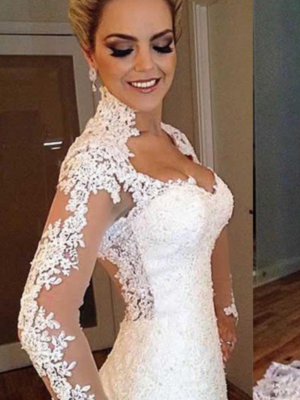 Defined Shine Mermaid Style V-neck Sweep/Brush Train With Applique Lace Wedding Dresses