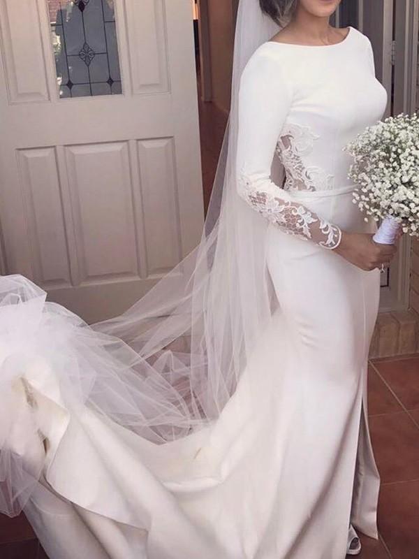 Modern Mood Mermaid Style Scoop Court Train Lace Satin Wedding Dresses