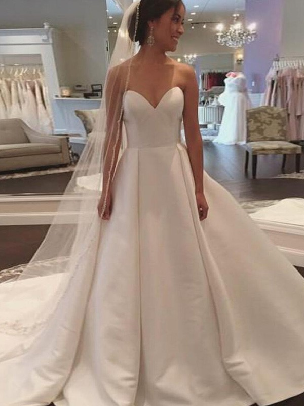 Comfortably Chic Ball Gown Sweetheart Court Train Satin Wedding Dresses