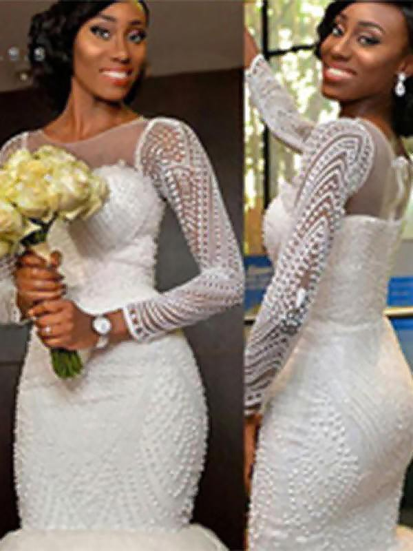 Automatic Classic Mermaid Style Scoop Sweep/Brush Train With Beading Tulle Wedding Dresses