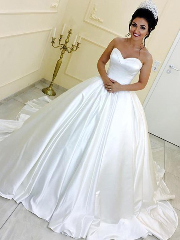 Sweet Sensation Ball Gown Sweetheart Satin With Sash/Ribbon/Belt Cathedral Train Wedding Dresses