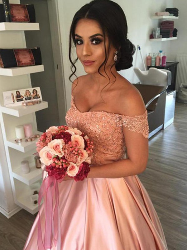 Pretty Looks Ball Gown Off-the-Shoulder Satin With Ruffles Cathedral Train Wedding Dresses