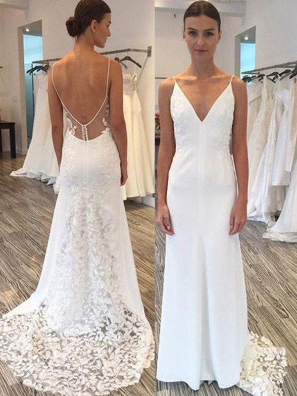 Open to Adoration Sheath Style Satin With Lace Spaghetti Straps Sweep/Brush Train Wedding Dresses
