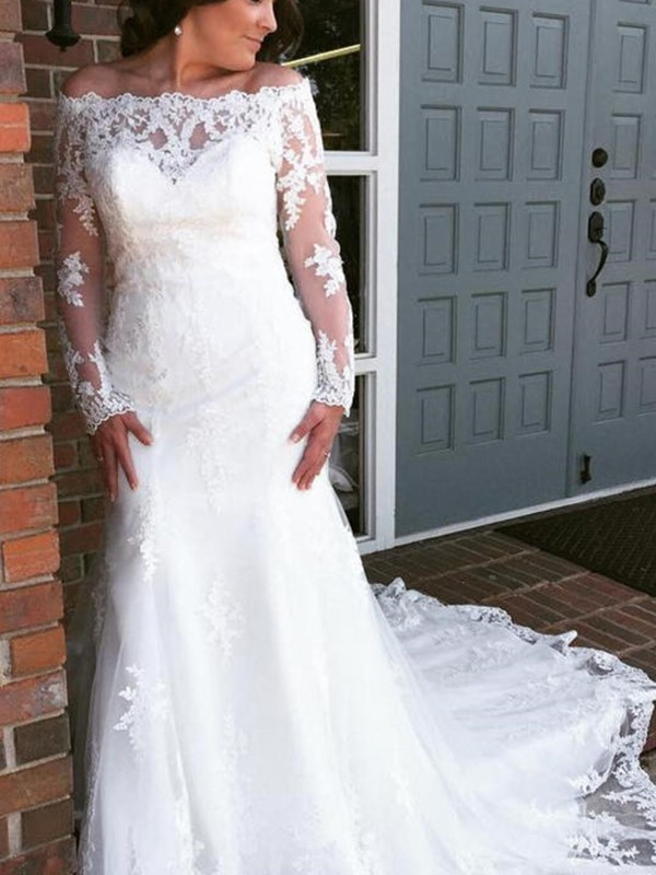 Dancing Queen Mermaid Style Tulle With Applique Off-the-Shoulder Cathedral Train Wedding Dresses
