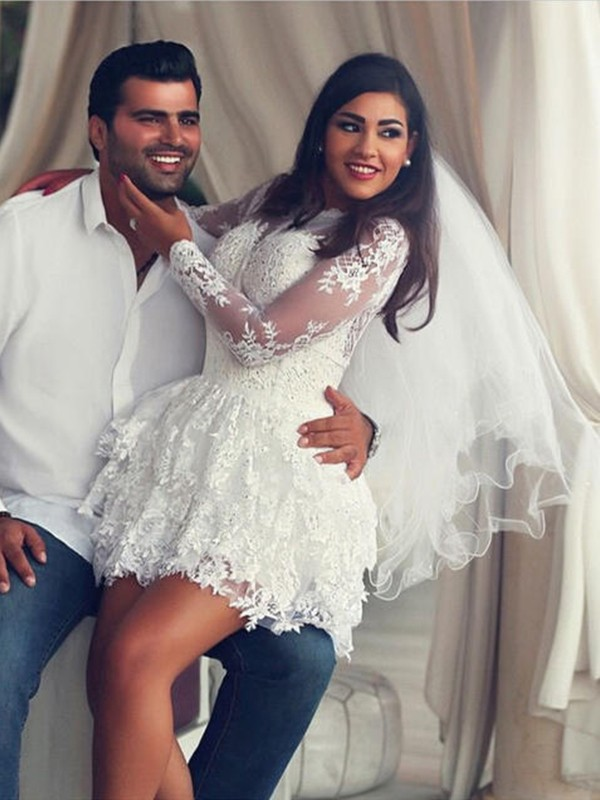 Romantic Vibes Princess Style Scoop Lace With Applique Short/Mini Wedding Dresses