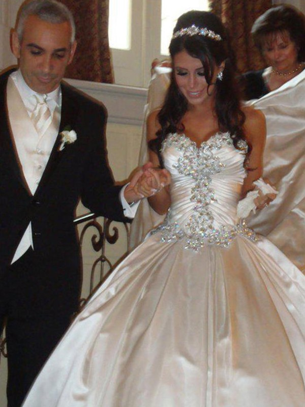 Defined Shine Ball Gown Satin Sweetheart With Ruffles Cathedral Train Wedding Dresses
