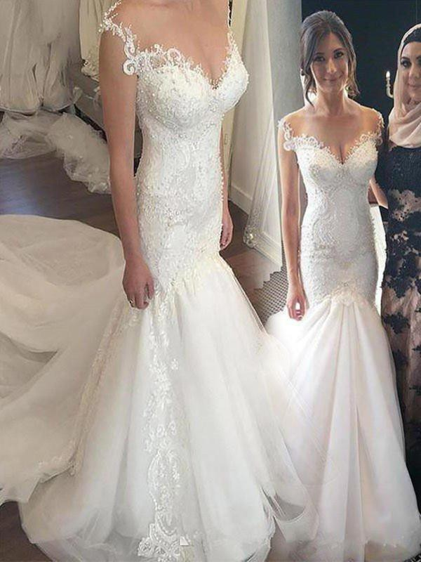 Touch of Texture Mermaid Style Tulle With Applique Off-the-Shoulder Chapel Train Wedding Dresses