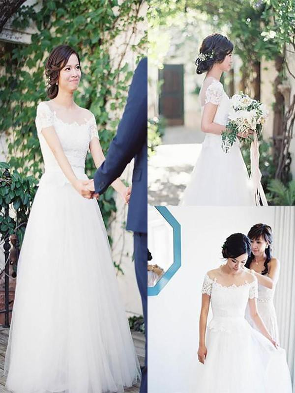 Naturally Chic Princess Style Tulle Lace Off-the-Shoulder Floor-Length Wedding Dresses