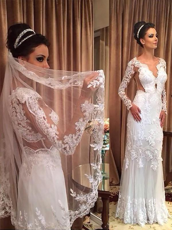 Embracing Grace Sheath Style V-neck Tulle With Applique Sweep/Brush Train Wedding Dresses
