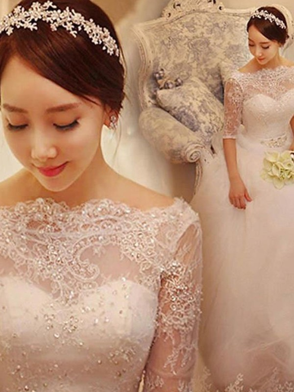 Automatic Classic Ball Gown With Beading Tulle Off-the-Shoulder Chapel Train Wedding Dresses