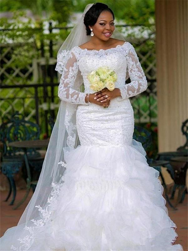 Pretty Looks Mermaid Style Square With Applique Organza Chapel Train Wedding Dresses