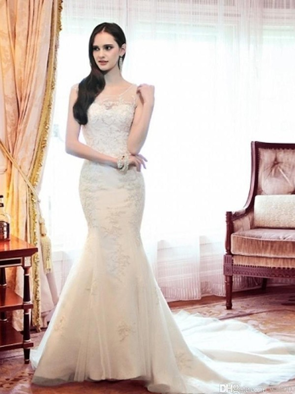 Visual Moment Mermaid Style Scoop Organza With Beading Court Train Wedding Dresses