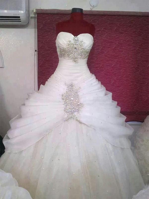 Memorable Magic Ball Gown Organza Sweetheart With Ruffles Floor-Length Wedding Dresses