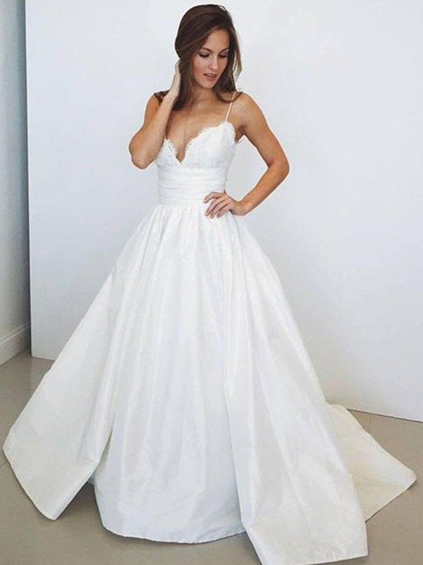 Lively Identity Ball Gown Spaghetti Straps With Ruched Satin Sweep/Brush Train Wedding Dresses