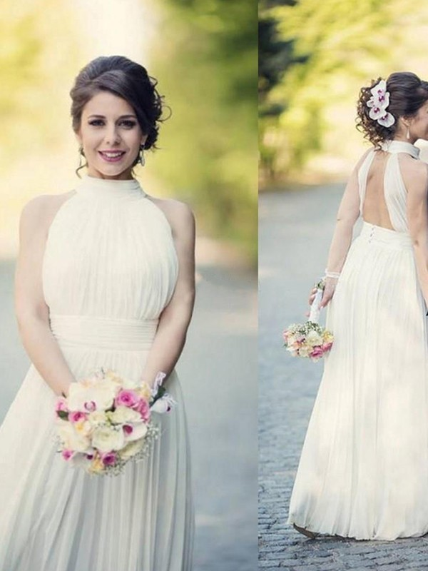 Defined Shine Princess Style Halter With Ruffles Tulle Floor-Length Wedding Dresses