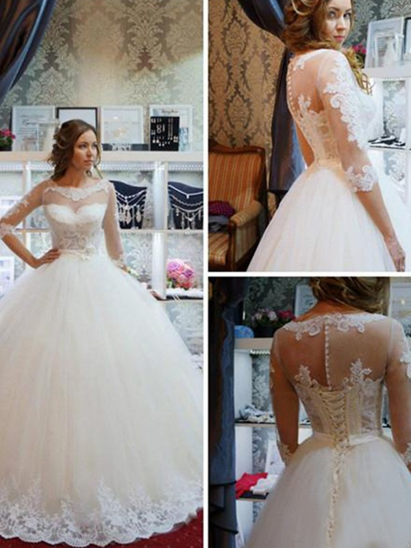 Savor the Occasion Ball Gown Tulle Scoop With Applique Floor-Length Wedding Dresses