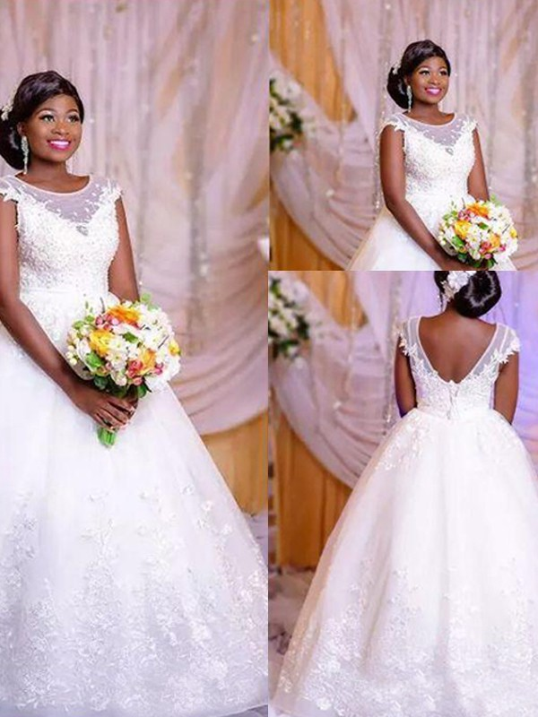Absolute Lovely Ball Gown Organza Scoop With Applique Floor-Length Wedding Dresses