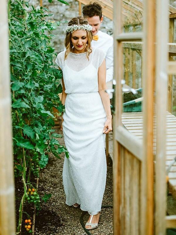 Treasured Reveries Sheath Style Chiffon With Ruffles Scoop Floor-Length Wedding Dresses