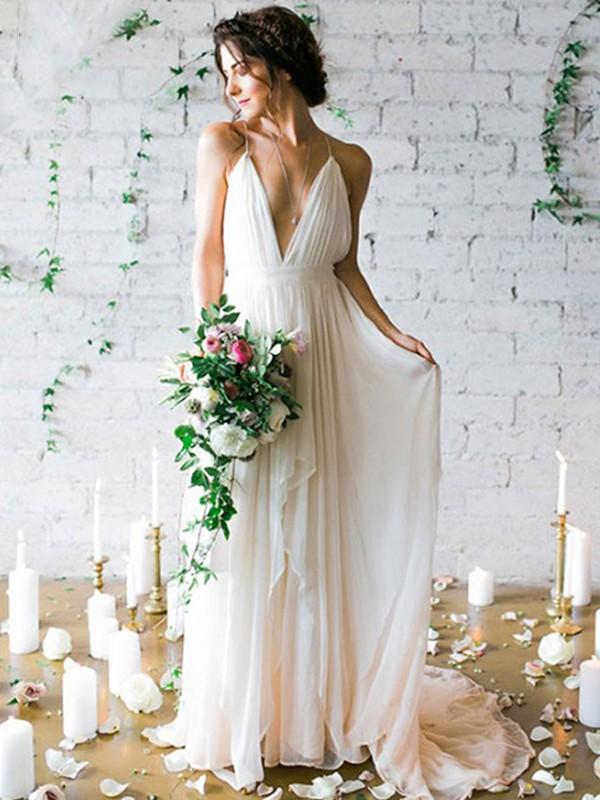 Limitless Looks Princess Style Chiffon With Ruffles Spaghetti Straps Sweep/Brush Train Wedding Dresses