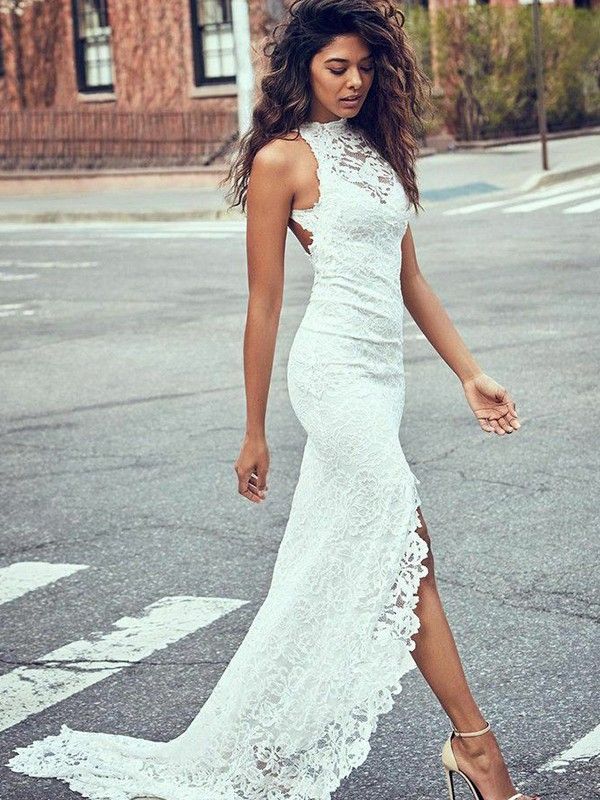 Comfortably Chic Mermaid Style Lace Halter Sweep/Brush Train Wedding Dresses