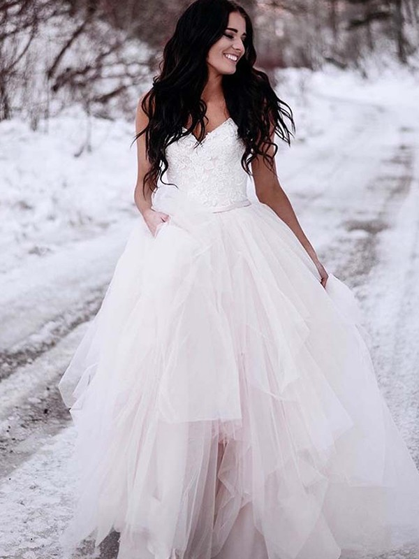 Glitz the Spot Princess Style With Ruched Tulle V-neck Floor-Length Wedding Dresses