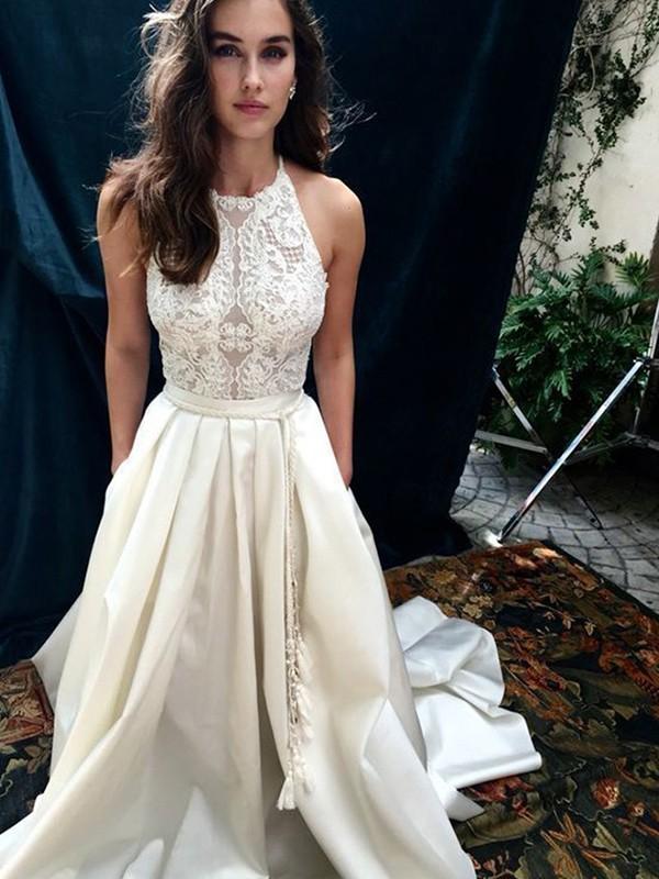 Modern Mood Princess Style Satin With Lace Halter Sweep/Brush Train Wedding Dresses