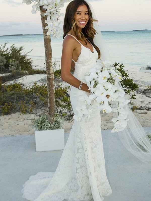 Absolute Lovely Mermaid Style Lace Spaghetti Straps Sweep/Brush Train Wedding Dresses