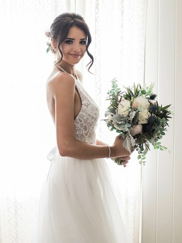 Desired Spotlight Princess Style With Lace Tulle Halter Floor-Length Wedding Dresses