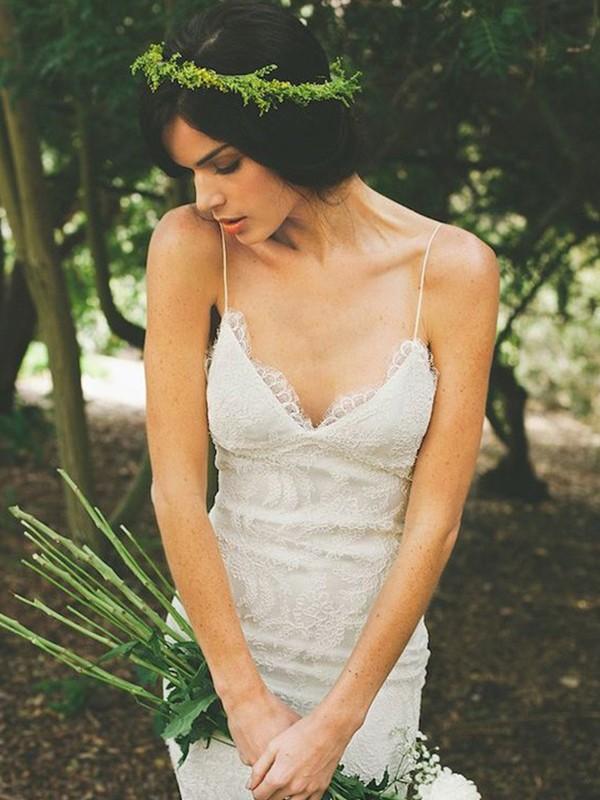 Sweet Sensation Mermaid Style Lace With Ruffles Spaghetti Straps Sweep/Brush Train Wedding Dresses
