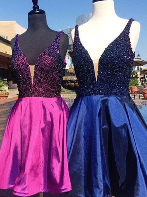 Fabulous Fit Princess Style V-neck Satin With Beading Short/Mini Dresses