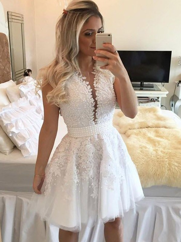 Open to Adoration Princess Style V-neck Tulle With Beading Short/Mini Dresses