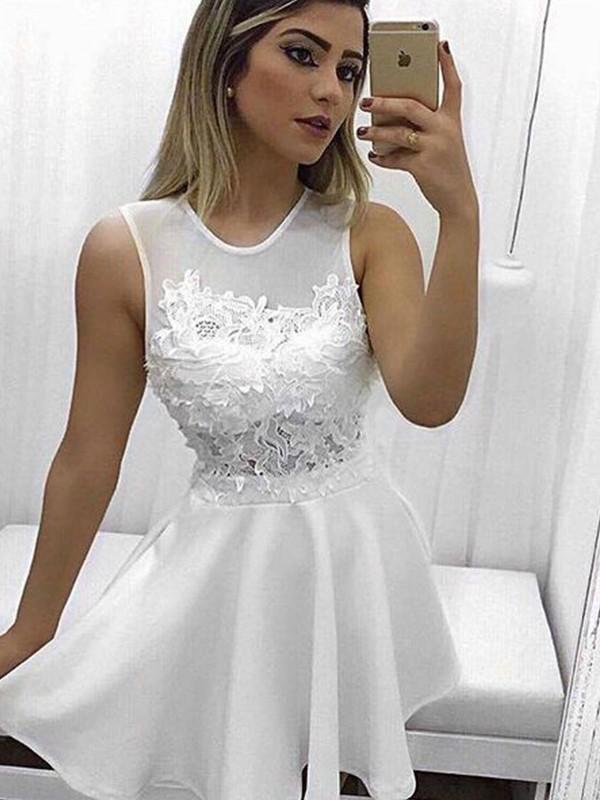 Memorable Magic Princess Style Scoop Satin With Applique Short/Mini Dresses