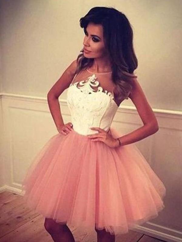 Defined Shine Princess Style Bateau Tulle With Applique Short/Mini Dresses