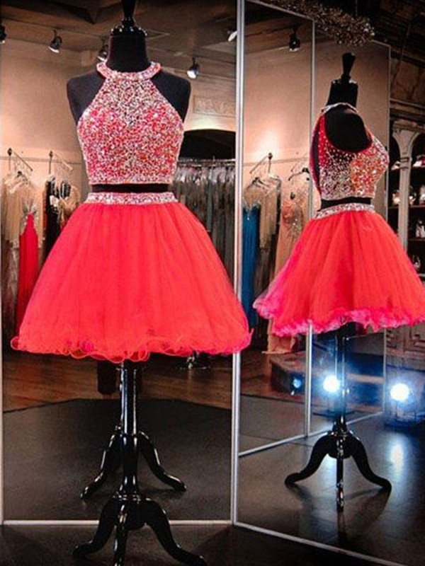 Naturally Chic Princess Style Halter Tulle With Beading Short/Mini Two Piece Dresses