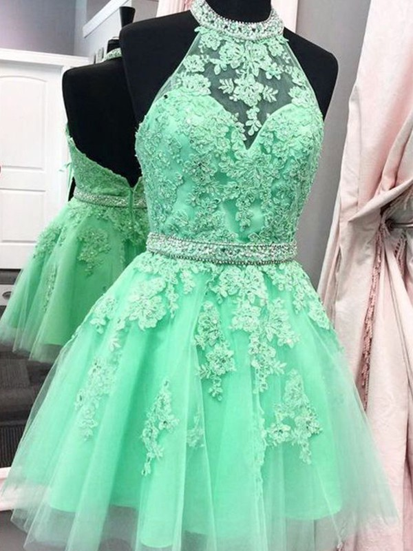 Befits Your Brilliance Princess Style Halter Tulle With Applique Short/Mini Dresses