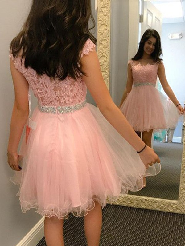 Glitz the Spot Princess Style Bateau Tulle With Beading With Applique Short/Mini Dresses