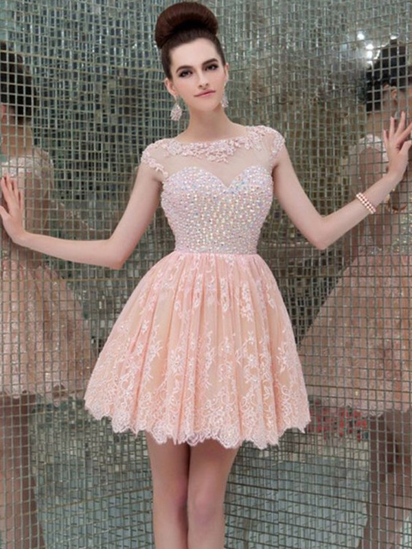Absolute Lovely Princess Style Scoop Lace With Beading Short/Mini Dresses