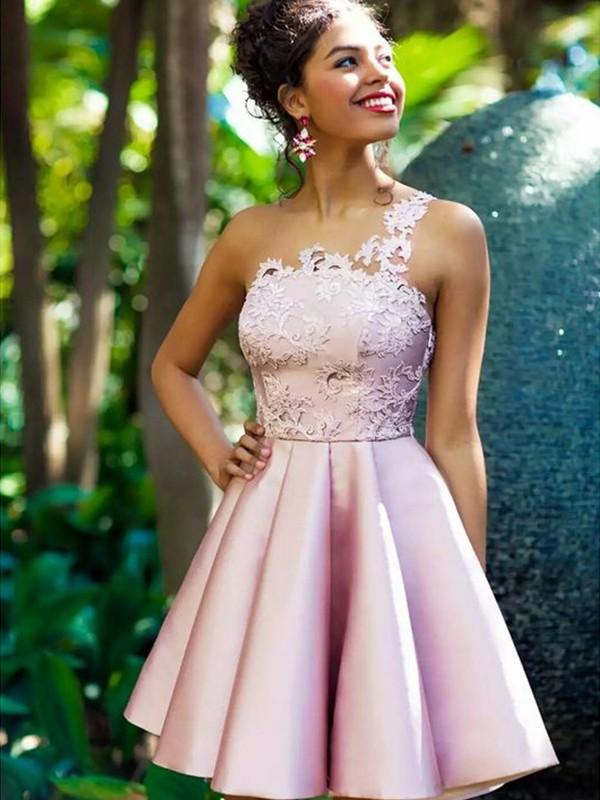 Pleasant Emphasis Princess Style One-Shoulder Satin With Applique Short/Mini Dresses