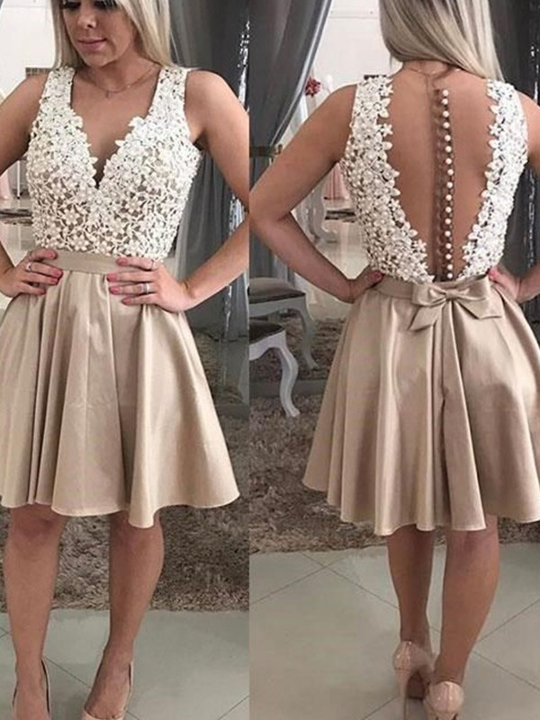 Modern Mood Princess Style With Beading V-neck Satin Short/Mini Dresses