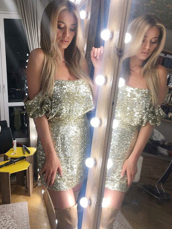 Too Much Fun Sheath Style Off-the-Shoulder Sequins Short/Mini Dresses
