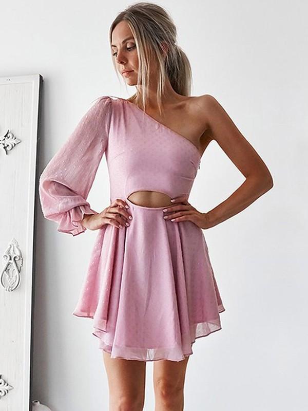 Memorable Magic Princess Style Chiffon One-Shoulder With Ruffles Short/Mini Dresses
