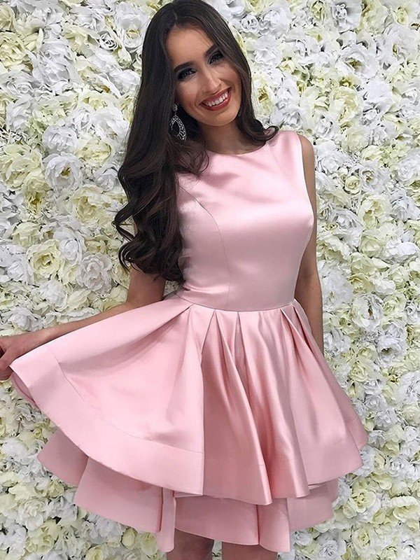 Just My Style Princess Style With Ruffles Scoop Satin Short/Mini Dresses